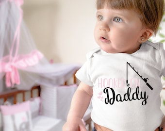 Hooked On Daddy Cute Funny Adorable Baby Girl Onesie® - Perfect Baby Shower Gift