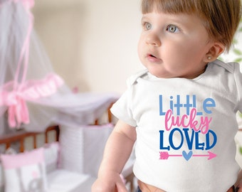 Little Lucky Loved Adorable Cute Baby Girl Onesie® - Perfect Baby Shower Gift