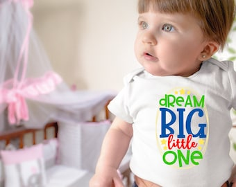 Dream Big Little One Cute Encouraging Uplifting Inspiring Unisex Baby Onesie® - Great Gift For Baby Showers