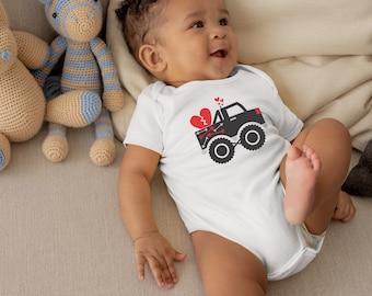 Valentines Heart Truck Onesie® - Awesome Valentine's Gift for Baby Boy