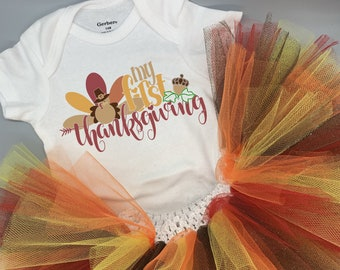 My First Thanksgiving Baby Girl Onesie® and Tutu Set - Great Thanksgiving Outfit for Baby's First Thanksgiving