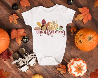 My First Thanksgiving Holiday Baby Onesie® - Great Baby Gift For New Moms and Babies on Their First Thanksgiving