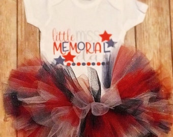 Little Miss Memorial Day Cute Red White and blue Holiday Baby Girl Onesie® & Tutu Set - Great Holiday Gift