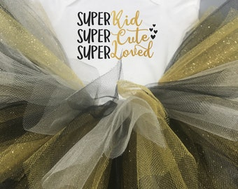 Super Kid Super Cute Super Loved Baby Girl Onesie® and Tutu Outfit - Great Gift or Baby Shower Gift for Baby Girl