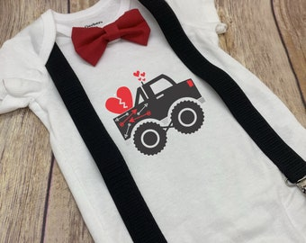 Valentines Heart Truck Onesie®, Bow Tie and Suspenders Outfit - Awesome Valentine's Gift Baby Boy