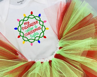 My Favorite Color is Christmas Lights Baby Girl Onesie® and Tutu Outfit - Great Christmas Gift or Baby Shower Gift for New Baby Girl.