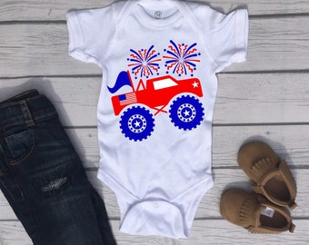 Fireworks Truck Fun Cute 4th of July Holiday Baby Onesie® - Perfect My First Holiday Gift For Baby Boy