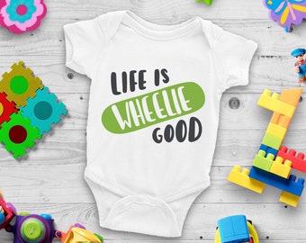Life Is Wheelie Good Cute Adorable Fun Sayings Unisex Baby Onesie® - Great Baby Shower Gifts