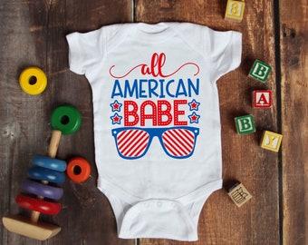All American Babe Funny Adorable 4th of July Holiday Unisex Baby Onesie® - Great For My First Holiday Gifts