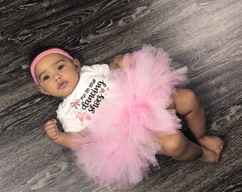 Put On Your Dancing Shoes Adorable Cute Baby Girl Onesie® & Tutu Set - Great Baby Shower Gift