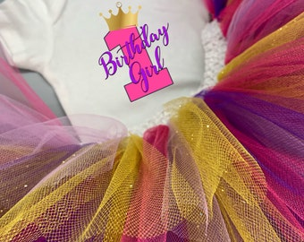 One Year Old Birthday Girl Baby Girl Onesie® and Tutu Outfit - Great First Birthday Outfit to Celebrate Baby Girl.