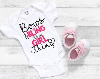 Bows and Bling Cute Funny Adorable Baby Girl Onesie® - Perfect Baby Shower Gift