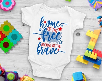 Home Of The Free Because Of The Brave Cute Funny Holiday Unisex Baby Onesie® - Great For My First Holiday Gifts