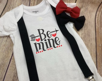 Be Mine Valentine's Onesie®, Bow Tie and Suspenders Outfit - Cute Valentine's Gift for Baby Boy