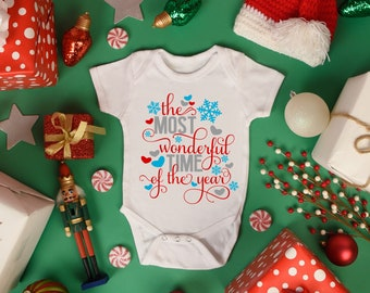 Most Wonderful Time of the Year Christmas Baby Onesie® - Great Christmas Outfit for New Baby