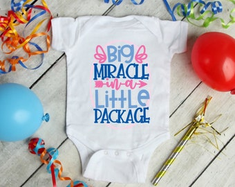 Big Miracle Little Package Cute Adorable Baby Girl Onesie® - Perfect Baby Gift