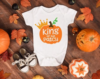 King Of The Patch Adorable Cute Pumpkin Baby Boy Onesie® - Perfect Pumpkin Gift For New Moms with Baby Boys