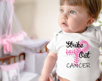 Strike Out Cancer Pink Breast Cancer Baby Onesie® - Great Onesie® to Support For Breast Cancer Awareness