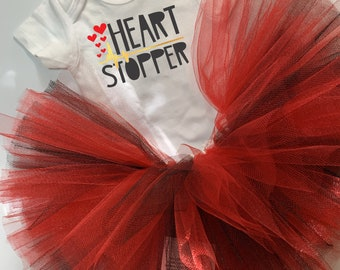 Heart Stopper Valentine's Onesie® and Tutu Outfit - Cute Valentine's Gift for Baby Girl