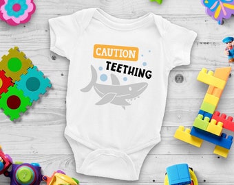 Caution I'm Teething Cute Funny Unisex Baby Onesie® - Perfect Gift For Teething Babies