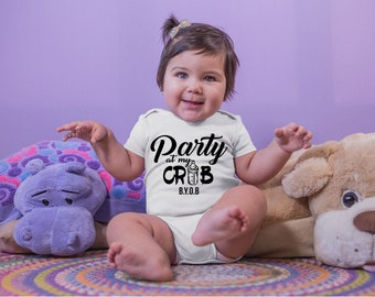 Party at My Crib Cute Adorable Fun Sayings Unisex Baby Onesie® - Great Baby Shower Gifts