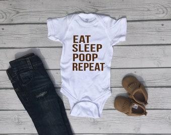 Eat Sleep Poop Repeat Cute Funny Unisex Baby Onesie® - Perfect Gift For Babies