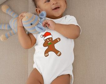 Dabbing Gingerbread Unisex Baby Onesie® - Great Christmas Onesie® for Baby's First Christmas