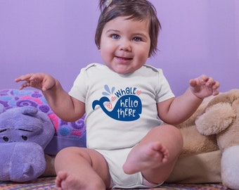 Whale Hello There Cute Funny Unisex Baby Onesie® - Makes A Great Baby Gift