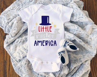 Little Mister America Cute Funny Holiday Baby Boy Onesie® - Great For My First Holiday Gifts