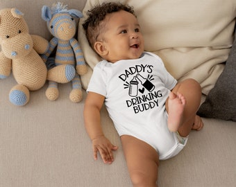 Daddy's Drinking Buddy Cute Funny Unisex Baby Onesie® - Makes A Great Baby Gift