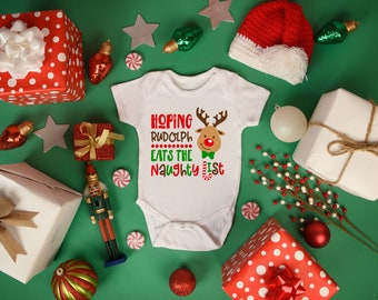 Hoping Rudolph Eats the Naughty List Unisex Baby Onesie® - Great Christmas Outfit for New Baby