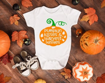 Pumpkin Kisses and Harvest Wishes Cute Fall Unisex Onesie® - Perfect Pumpkin Fall Harvest Gifts For New Moms