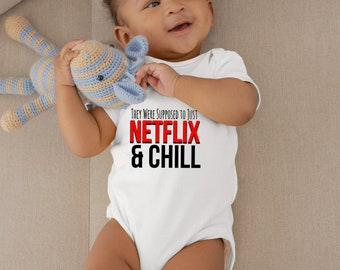 Netflix and chill Funny baby Onesie Baby onesie Binky and chill,
