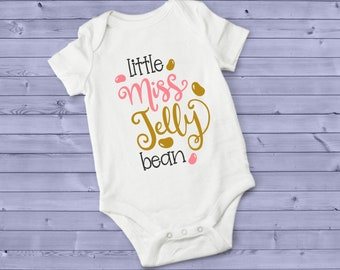 Little Miss Jelly Bean Pink and Gold Lovely Cute Baby Girl Onesie® - Perfect Baby Shower Gift for That Special Little Bean