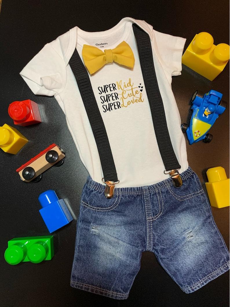 Super Kid Super Cute Super Loved Onesie® Bow Tie and image 0