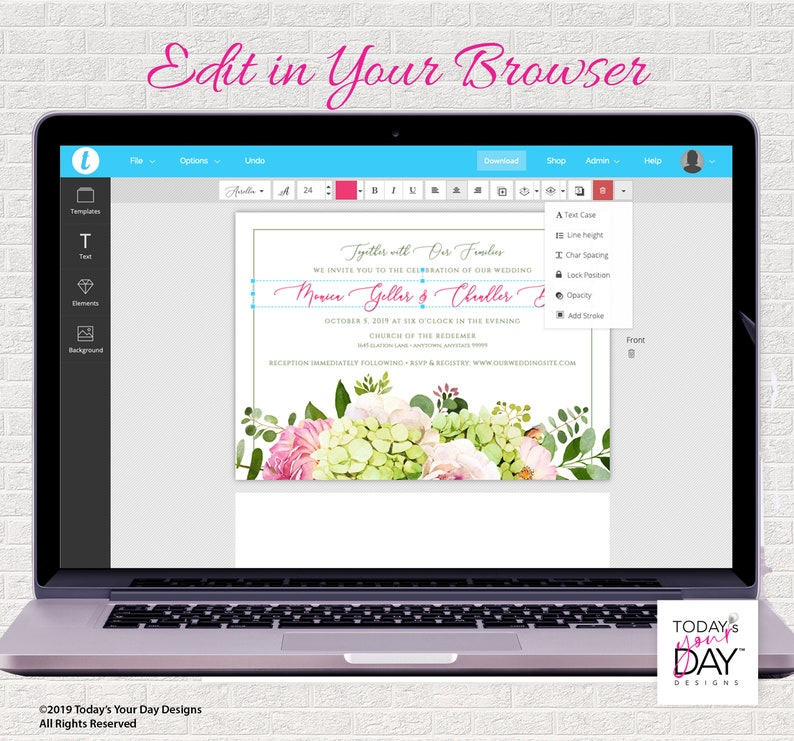 Editable Instant Download Watercolor Hydrangeas /& Pink Roses DIY Save the Date Template