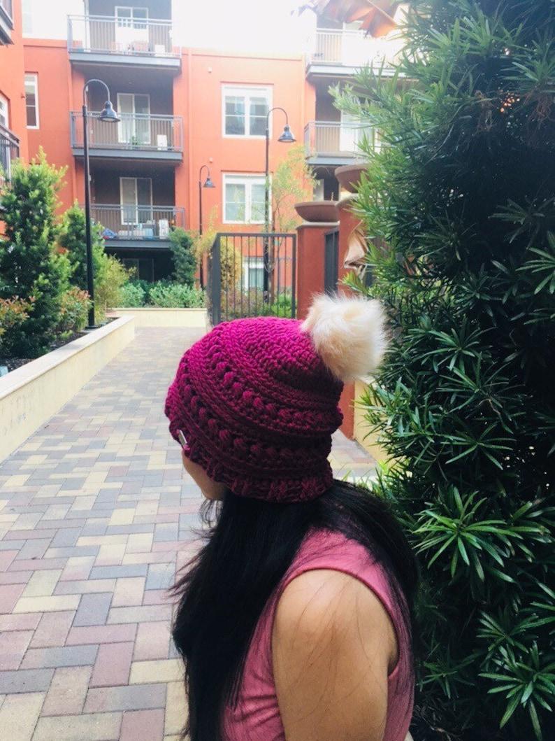 Crochet beanie with faux fur pom!