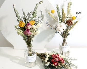 9 type dried bouquet with vase,dried flowers bouquet,handmade bouquet,dried flower arrangement,home decor