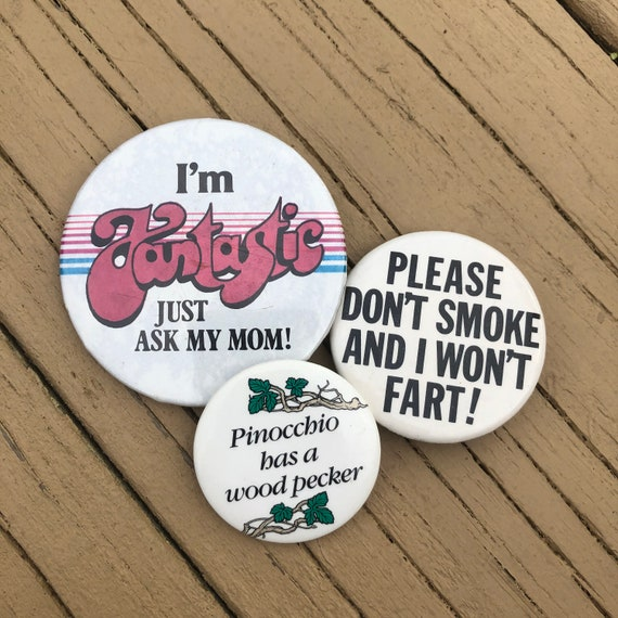 Vintage Lot of Three 1970s-80s DirtyFunny Buttons