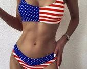 American Flag Patriotic Bikini Set, American Bathing Suit, American Flag Swimwear, Sexy Spaghetti Strap Flag Swimsuit, 4th of July Swimwear.