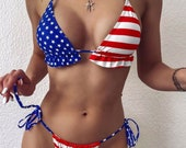 American Flag Patriotic Bikini Set, American Bathing Suit, American Flag Swimwear, Sexy Tie back Flag Swimsuit, 4th of July Swimwear.