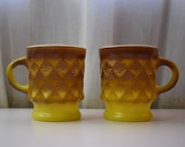 Vintage Anchor Hocking Diamond coffee cups yellow and Brown Hombre set of two cups