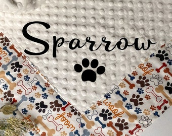 Pet Blanket Puppy Blanket Dog Blanket Personalized Navy Blue White Chevron  Minky Color Choices Monogram Option Picture Option Made to Order