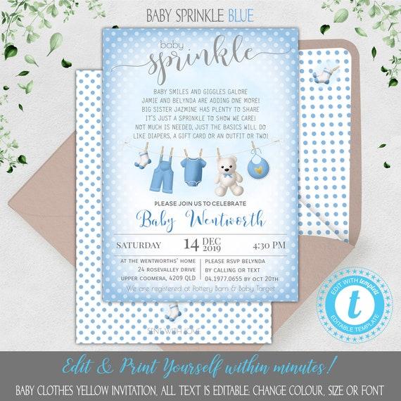 Baby Shower Invitations Invites BLUE BOY Washing Line Design Pack Of 8