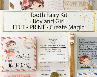 Editable Tooth Fairy Kit Letter Pouch Receipt Tooth Guide and Envelope, Printable, Editable Template, Personalised Boy or Girl Fairy Note