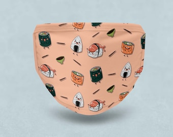 Cute Kawaii Sushi Face Mask Washable Reusable Fabric with Pocket and PM2.5 Filter - Elastic Ear Loops - Adult and Kids Sizes