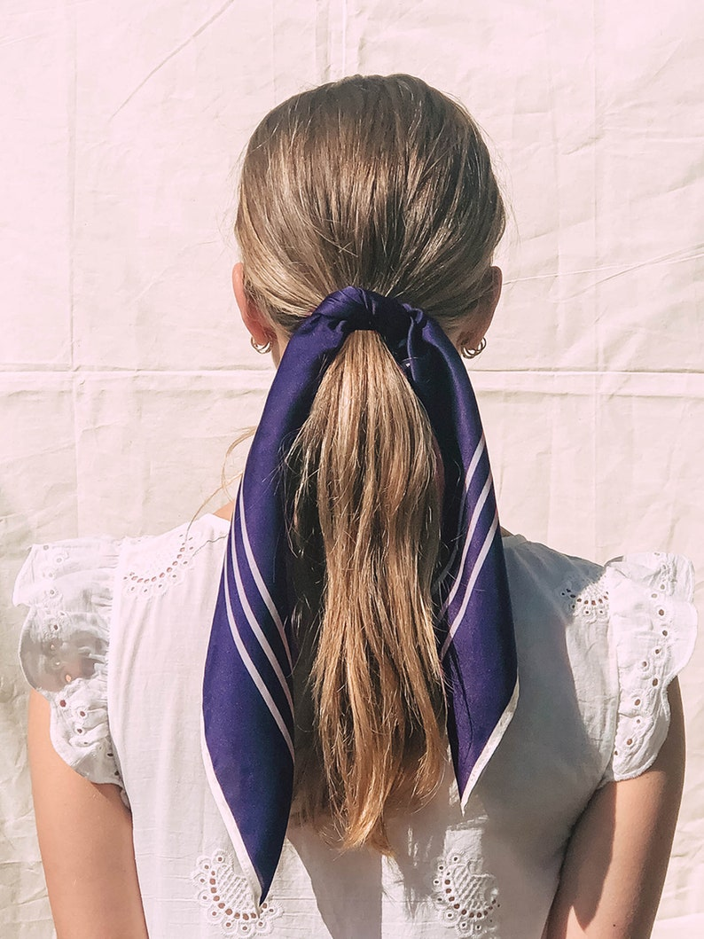 Navy Blue Silk Scarf  Silk Hair Scarf  Silk Neck Scarf  Silk Neckerchief  Silk Hair Tie  Silk Hair Accessory  Square Silk Scarf
