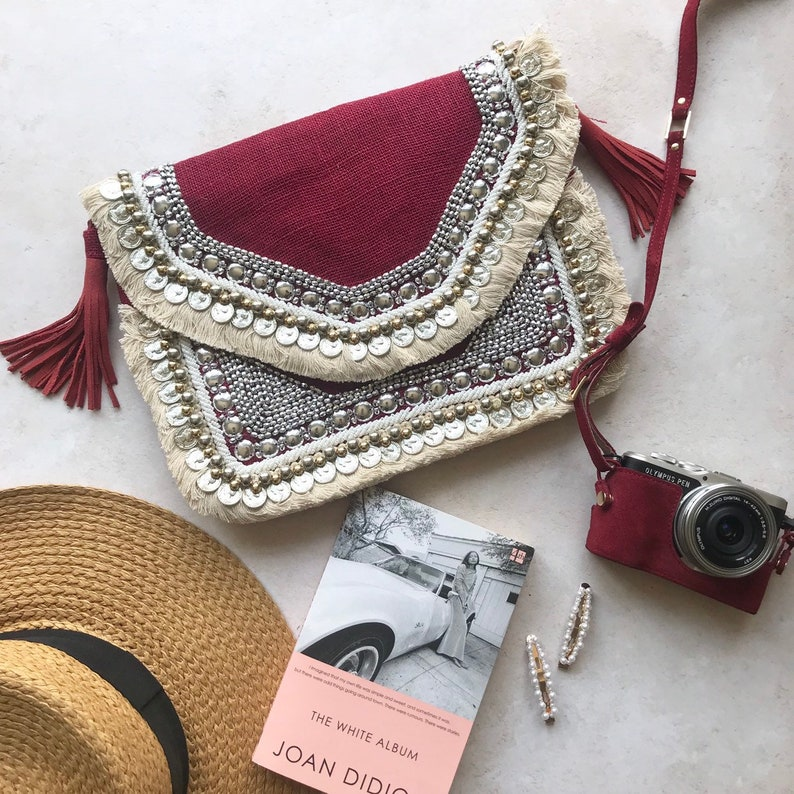 Embroidered Crossbody Handcrafted Banjara Bohemian Bag in Red Burgundy