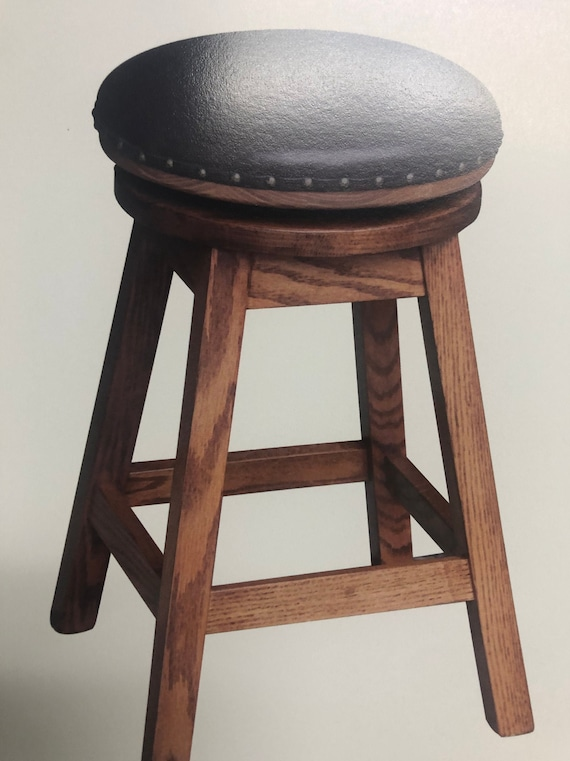 Miraculous Amish Handcrafted Bar Stool Leather Or Wood Swivel Seat Or Non Swivel Gamerscity Chair Design For Home Gamerscityorg