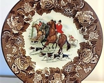 Vintage Alpine White Ironstone Wood and Sons Ceramic Fox Hunt Plate/Ironstone Plate/Collector Plate/Horse Plate